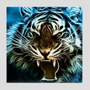 Fractal Tiger Art Tile Coaster