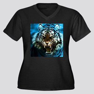 Fractal Tiger Art Plus Size T-Shirt