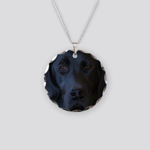 Black Lab Necklace Circle Charm