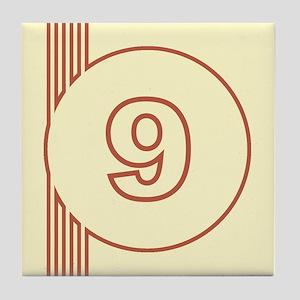 Yellow Art Deco Number 9 Decorative Ceramic Tile