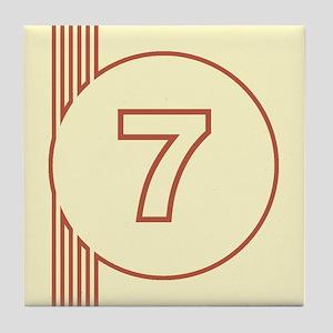 Yellow Art Deco Number 7 Decorative Ceramic Tile