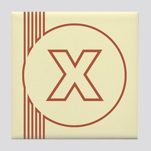 Yellow Art Deco Letter X Decorative Ceramic Tile