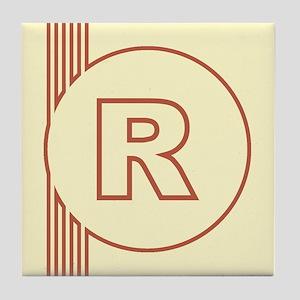 Yellow Art Deco Letter R Decorative Ceramic Tile