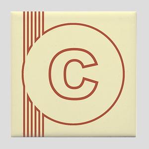 Yellow Art Deco Letter C Decorative Ceramic Tile