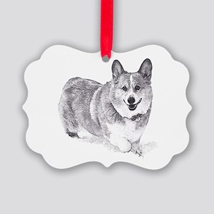 Red and White Welsh Corgi in the Snow Ornament