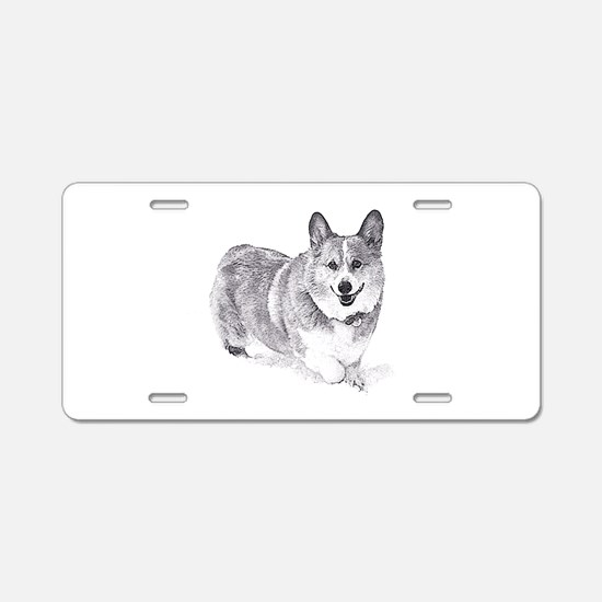 Red and White Welsh Corgi in the Snow Aluminum Lic