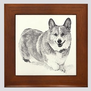 Red and White Welsh Corgi in the Snow Framed Tile