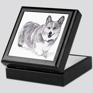 Red and White Welsh Corgi in the Snow Keepsake Box