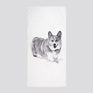 Red and White Welsh Corgi in the Snow Beach Towel