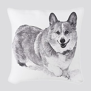 Red and White Welsh Corgi in the Snow Woven Throw