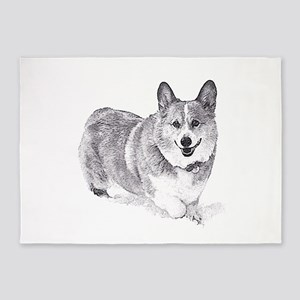 Red and White Welsh Corgi in the Snow 5'x7'Area Ru