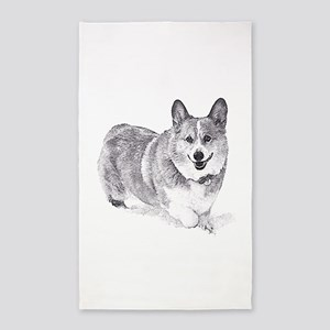 Red and White Welsh Corgi in the Snow Area Rug