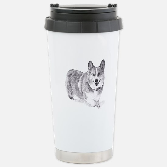 Red and White Welsh Corgi in the Snow Travel Mug