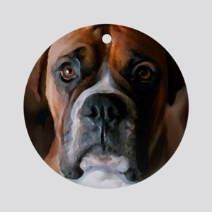 3-AdoringBoxer_User Round Ornament