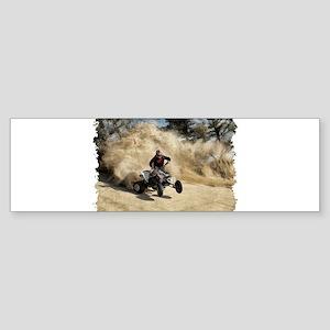 ATV on Dirt Road in Dust Cloud w/Ed Bumper Sticker