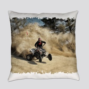 ATV on Dirt Road in Dust Cloud w/E Everyday Pillow