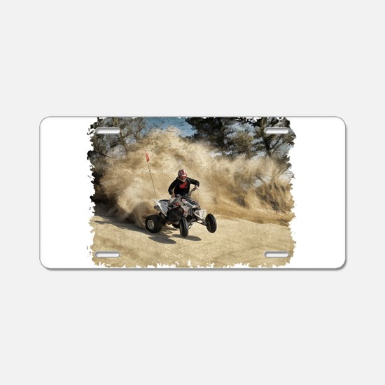 ATV on Dirt Road in Dust Cl Aluminum License Plate
