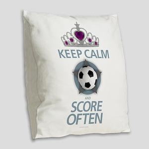 Keep Calm Soccer Burlap Throw Pillow