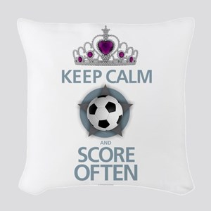 Keep Calm Soccer Woven Throw Pillow