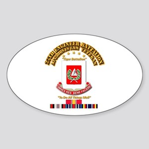 27th Engineer Bn w Afghan SVC Ribbo Sticker (Oval)