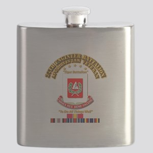 27th Engineer Bn w Afghan SVC Ribbons Flask