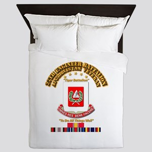 27th Engineer Bn w Afghan SVC Ribbons Queen Duvet