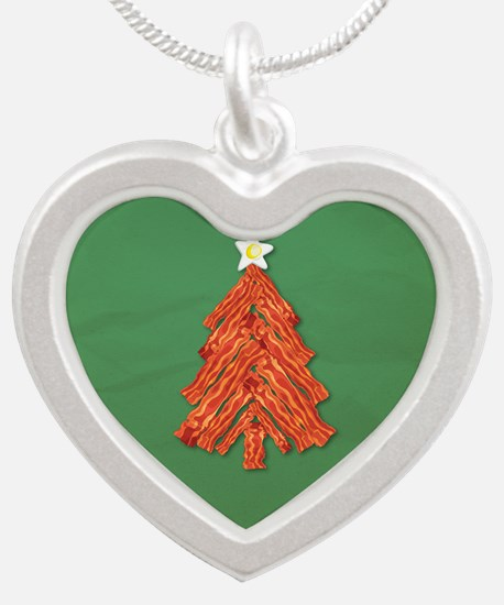 Bacon Christmas Tree Silver Heart Necklace