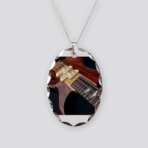 Electric Guitar Necklace Oval Charm
