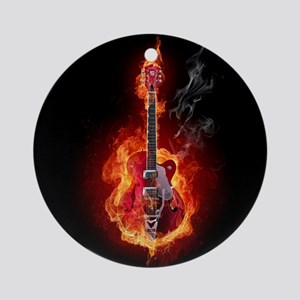 Flaming Guitar Round Ornament