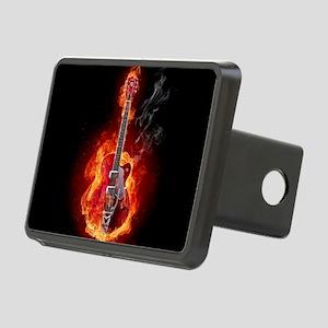 Flaming Guitar Rectangular Hitch Cover