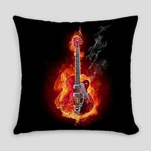 Flaming Guitar Everyday Pillow