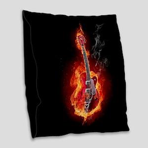 Flaming Guitar Burlap Throw Pillow