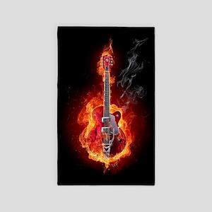 Flaming Guitar Area Rug