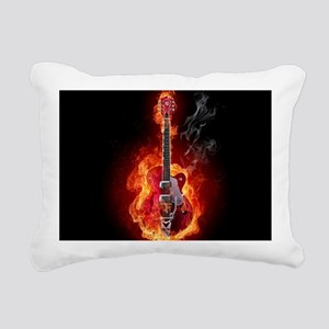 Flaming Guitar Rectangular Canvas Pillow