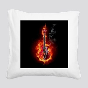 Flaming Guitar Square Canvas Pillow