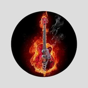 Flaming Guitar Button
