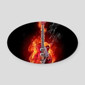 Flaming Guitar Oval Car Magnet
