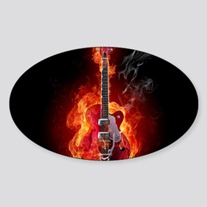 Flaming Guitar Sticker