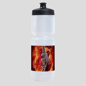 Flaming Guitar Sports Bottle