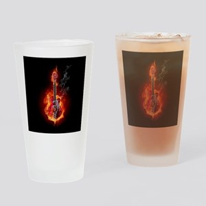 Flaming Guitar Drinking Glass
