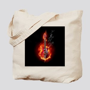 Flaming Guitar Tote Bag