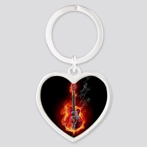 Flaming Guitar Keychains