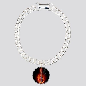Flaming Guitar Charm Bracelet, One Charm