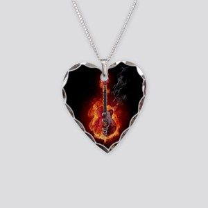 Flaming Guitar Necklace Heart Charm