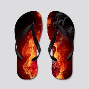 Flaming Guitar Flip Flops