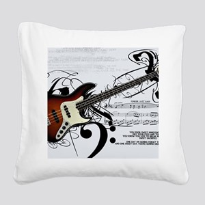 Guitar And Musical Notes Square Canvas Pillow