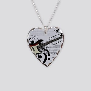 Guitar And Musical Notes Necklace Heart Charm