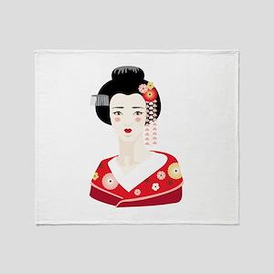 Japanese Geisha Throw Blanket
