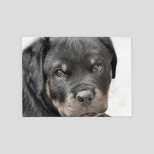Rottweiler Puppy 5'x7'Area Rug