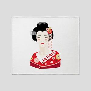 Japan Geisha Throw Blanket